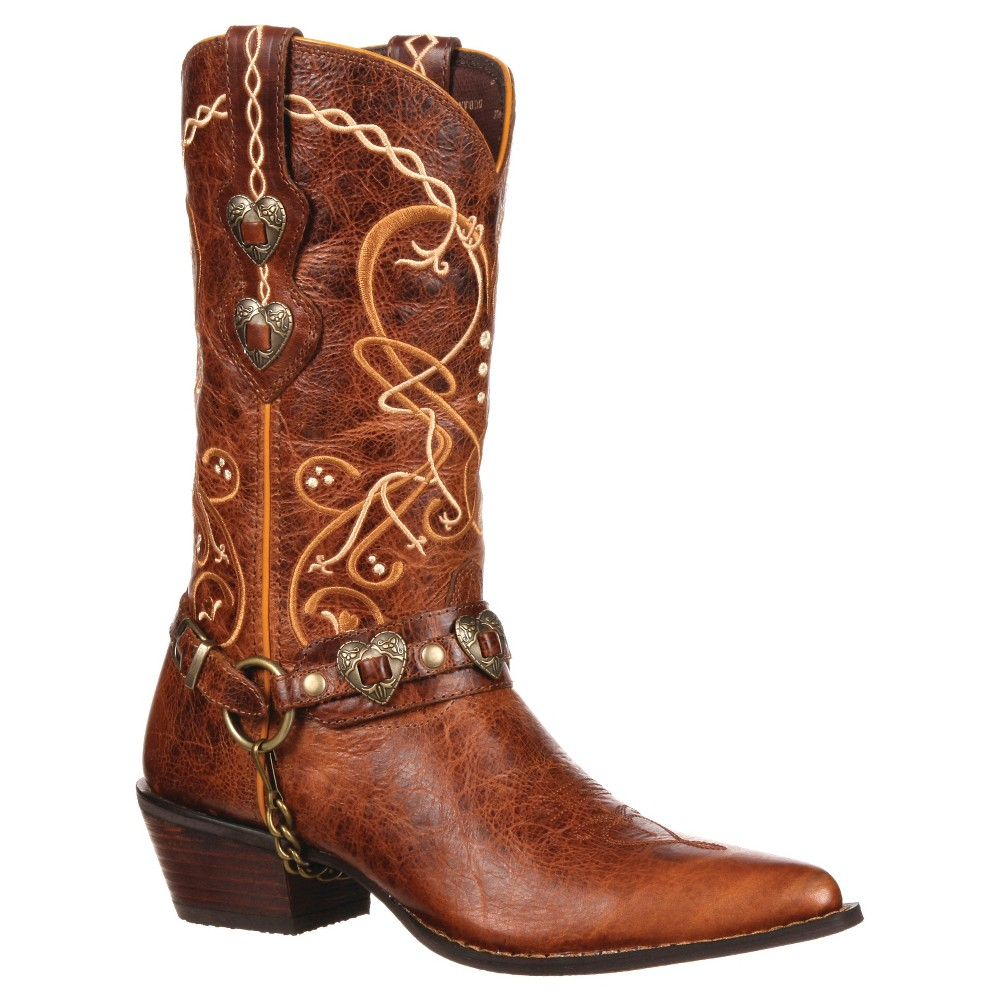 Womens Durango 11 Heartbreaker Concho Crush Embroidered Cowboy Boot - Brown 9