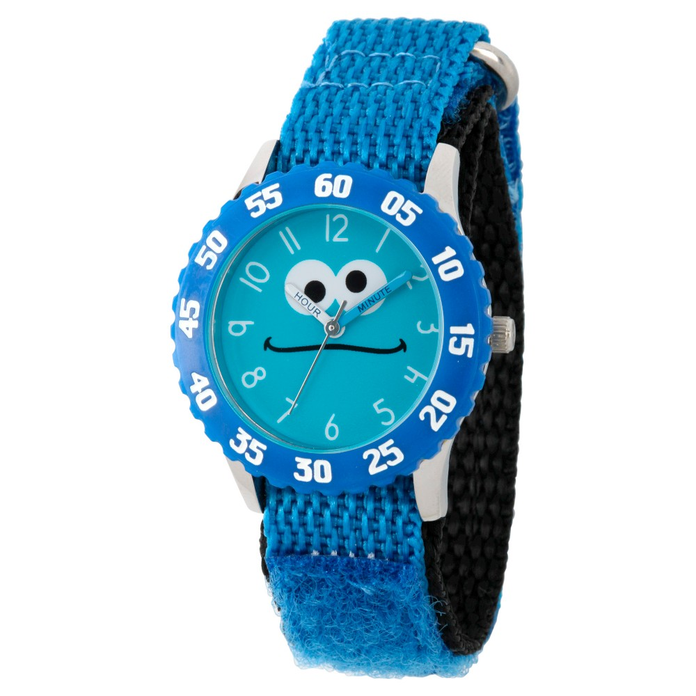 Sesame Street Stainless Steel Time Teacher Watch - Blue, Kids Unisex