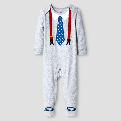 Vitamins Baby® Baby Boys' Footed Coverall with Tie - Grey 6M