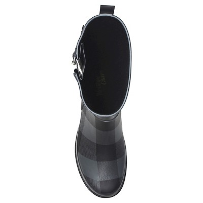 Women's Western Chief Buffalo Plaid Mid Calf Rain Boots - Charcoal (Grey) 6
