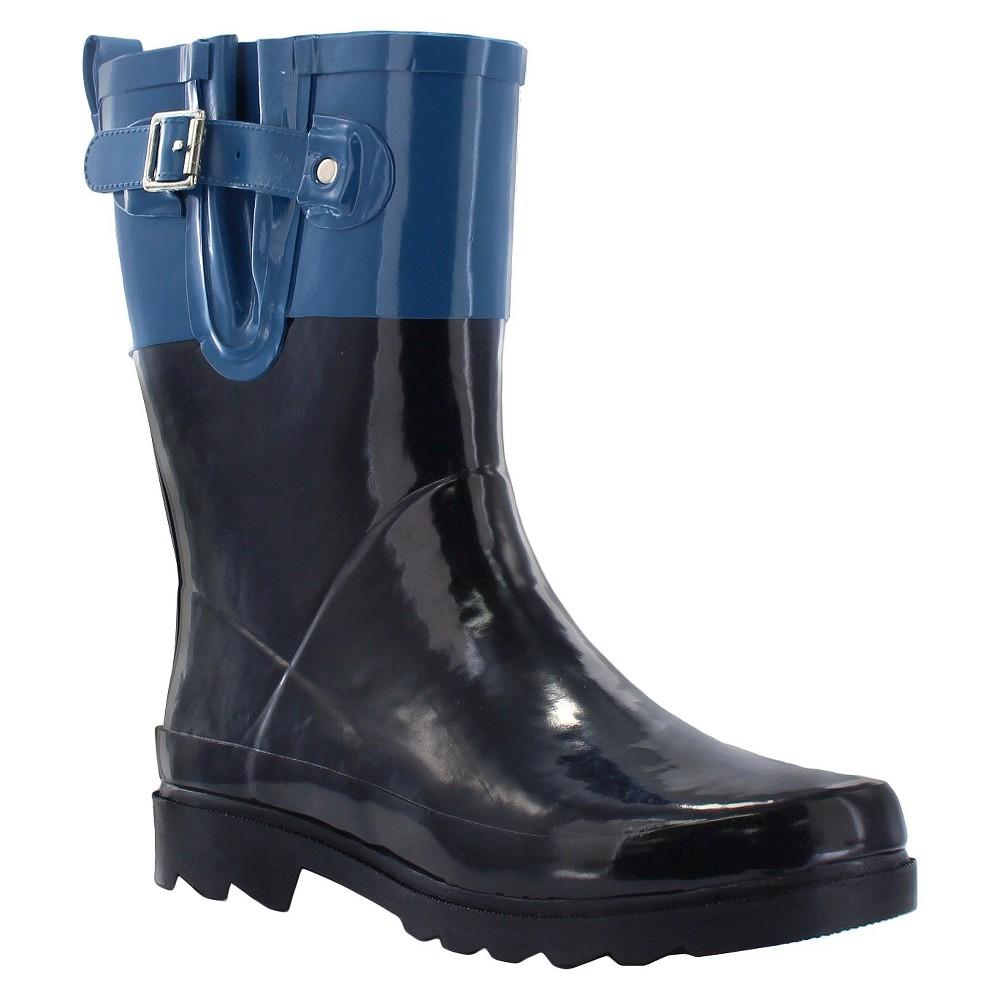 Womens Western Chief Top Pop Mid Calf Rain Boots - Blue 7