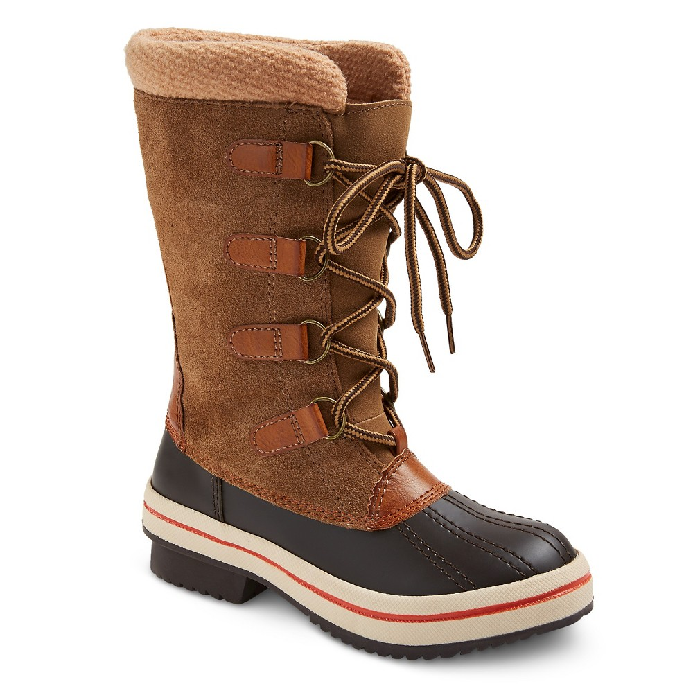 Girls Claire Sweater Top Winter Boots - Tan 1