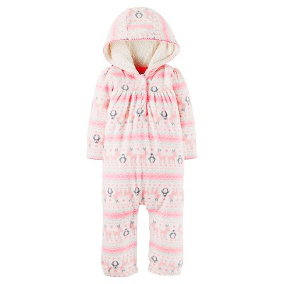 Just One You™ Made by Carter's® Baby Girls' Fleece Hooded Reindeer Penguins Jumpsuit - NB