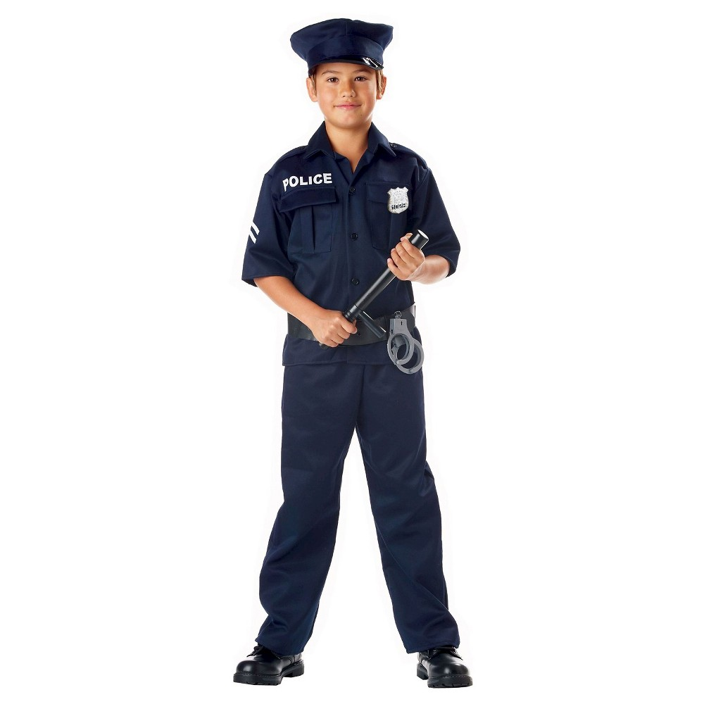 Kids Police Officer Blue Costume - XS, Kids Unisex