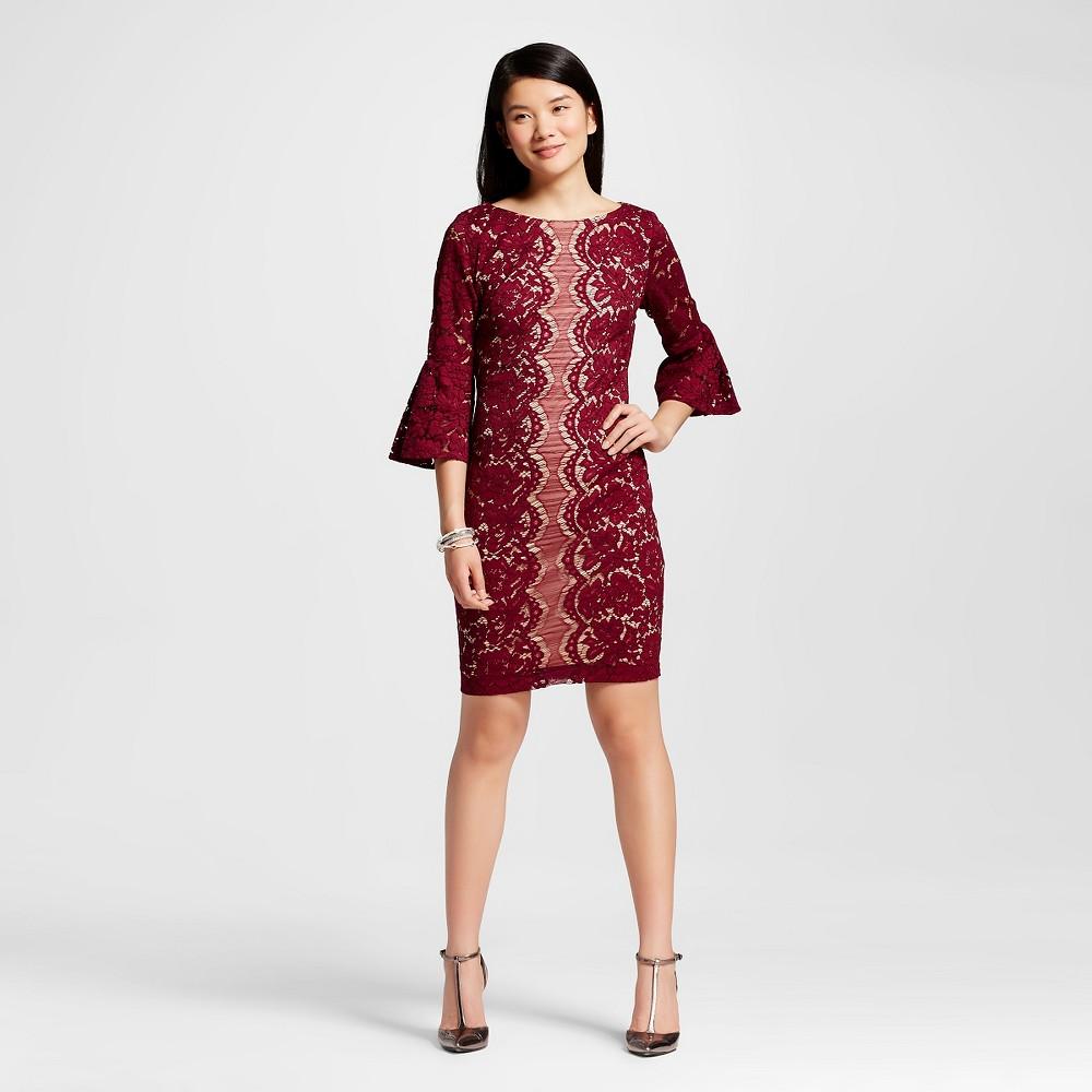 Women's 3/4 Sleeve Lace Sheath Dress Wine/Nude 14 – Melonie T, Red