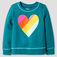 Toddler Girls' Rainbow Heart Long Sleeve Sweatshirt Cat & Jack - Green. opens in a new tab.