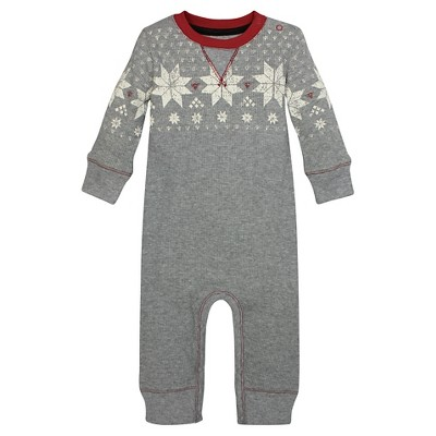 Organic Fair Isle V Inset Thermal Coverall Cranberry 3-6M - Burt's Bees Baby™