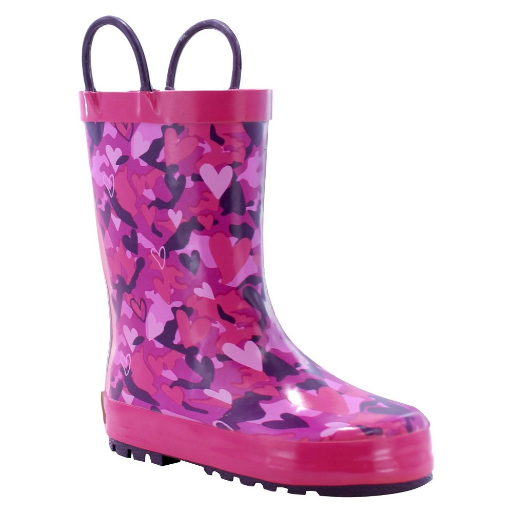 Western Chief Toddler Girls Heart Camo Rain Boots - Pink 8