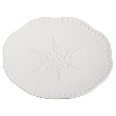 Evergreen Snowflake Ceramic Dinner Plate 8   White - Set of 4