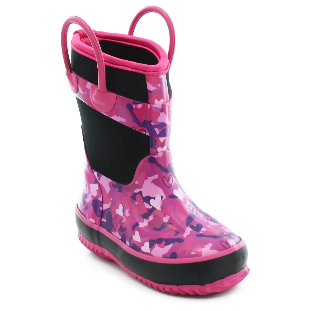 Western Chief Toddler Girls Heart Camo Neoprene Rain Boots - Pink 1