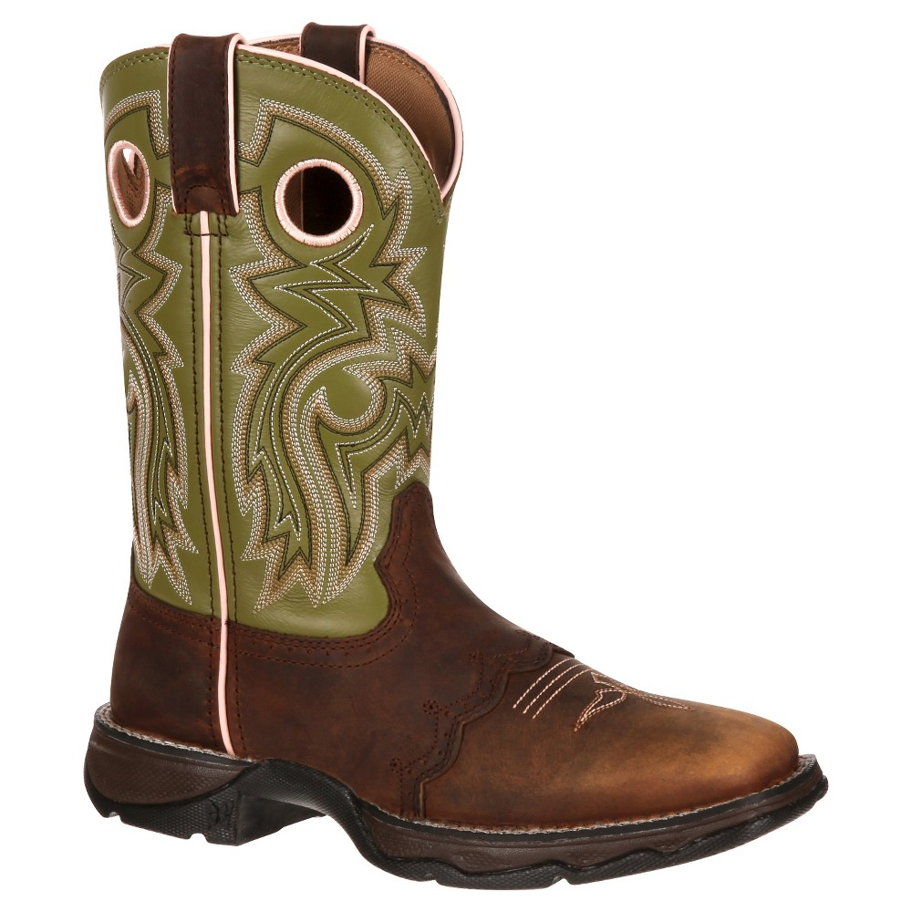 Womens Durango 10 Saddle Lady Rebel Cowboy Boot - Light Green 9