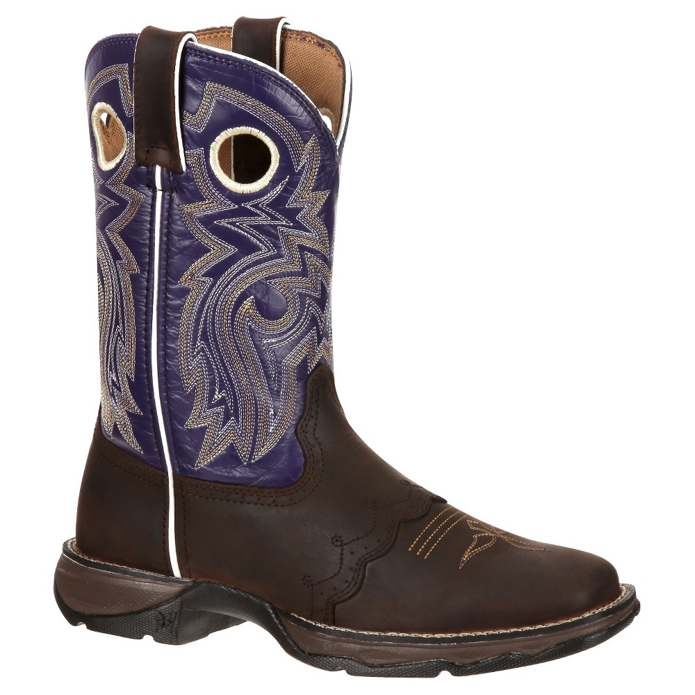 Womens Durango 10 Saddle Lady Rebel Cowboy Boot - Purple 8.5, Midnight Plum