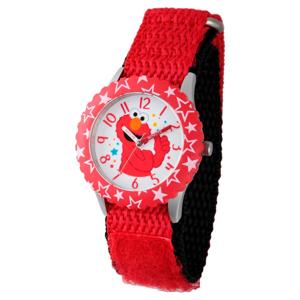 Sesame Street Stainless Steel Time Teacher Watch - Red, Kids Unisex
