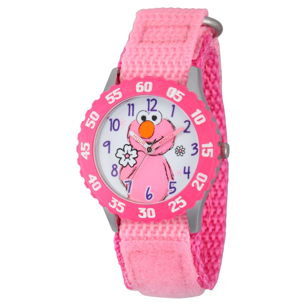 Girls' Sesame Street Stainless Steel Time Teacher Watch - Pink