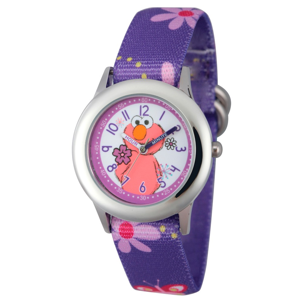 Girls' Sesame Street Stainless Steel Time Teacher Watch - Purple