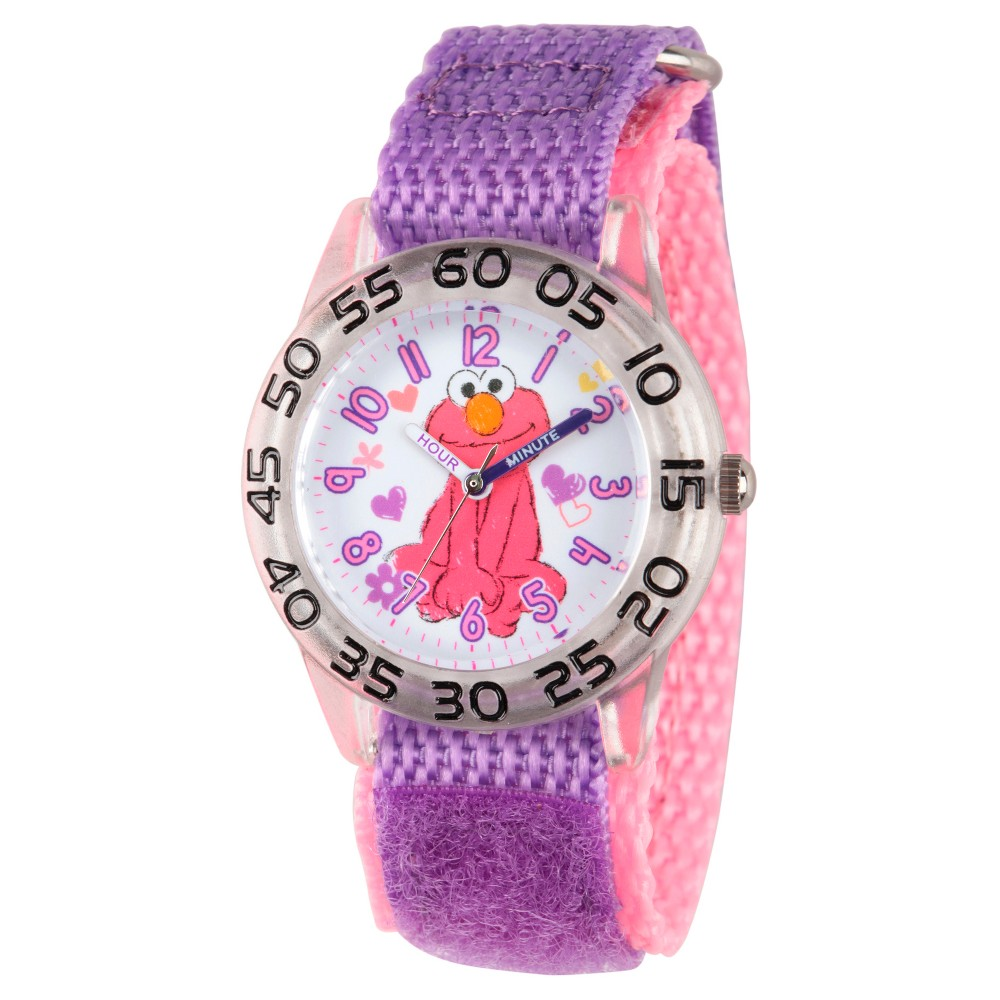Girls' Sesame Street Clear Plastic Time Teacher Watch - Purple
