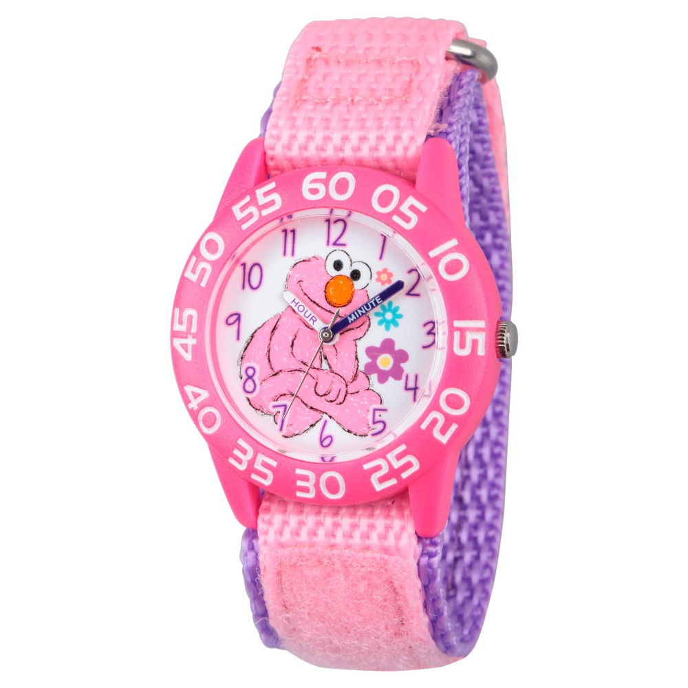 Girls' Sesame Street Pink Plastic Time Teacher Watch - Pink