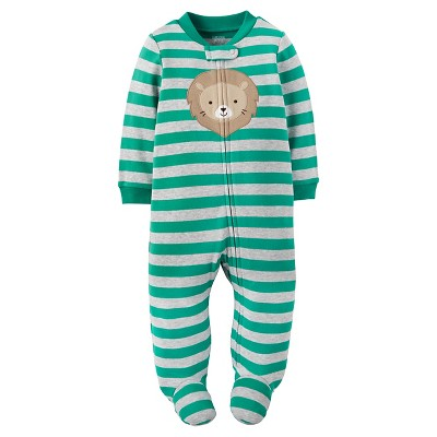 Just One You™ Made by Carter's® Baby Boys' Cotton Sleep N' Play Lion Green Stripe NB