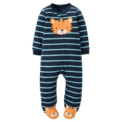 Just One You™ Made by Carter's® Baby Boys' Fleece Sleep N' Play - Blue Stripe Tiger 3M