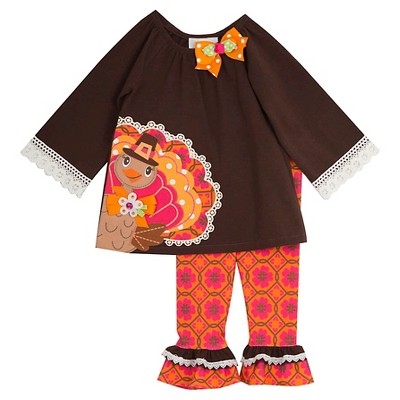 Rare, Too! Baby Girls' Knit Crochet Dress Set with Turkey - Brown/Ivory 3-6M