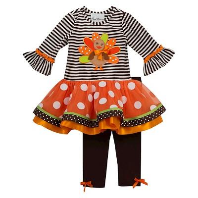 Rare, Too! Baby Girls' Striped Turkey Tutu Set - Brown/White 12M