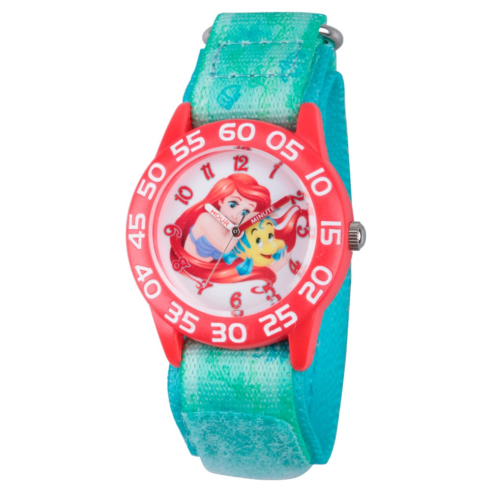Girls Disney Princess Ariel Red Plastic Time Teacher Watch - Green