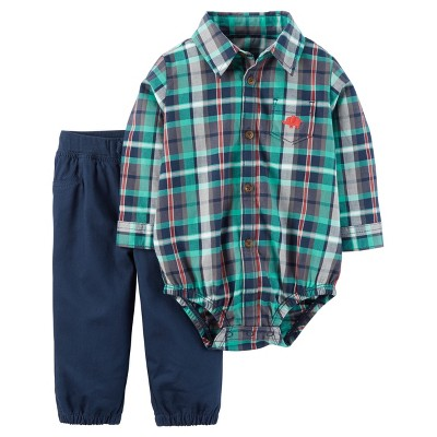 Just One You™ Made by Carter's® Baby Boys' 2pc Long-Sleeve Plaid Pant Set - Navy Plaid 9M