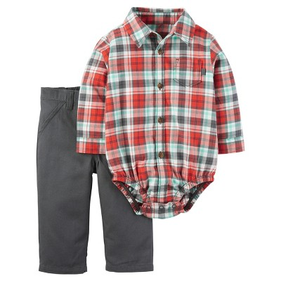 Just One You™ Made by Carter's® Baby Boys' 2pc Long-Sleeve Plaid Pant Set - Orange Plaid 3M