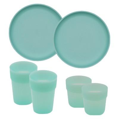 Kids' Tableware Set Seafoam 6 Piece - Pillowfort™