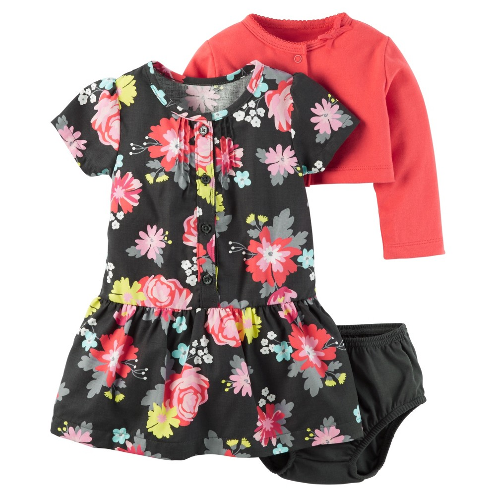 Baby Girls' 2 Piece Floral Dress Set Red 3M – Just One You Made by Carter's, Infant Girl's, Size: 3 M, Black