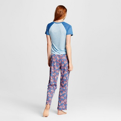 Super Girl Women's T-Shirt/Pant Pajamas Set - Blue L