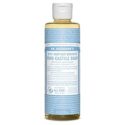 Dr. Bronner's Baby-Unscented Pure-Castile Liquid Soap - 8oz
