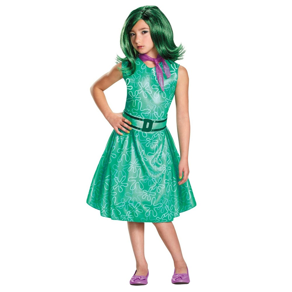 Girls Disney Inside Out - Classic Girls Disgust Costume - S, Size: S(4-6), Green