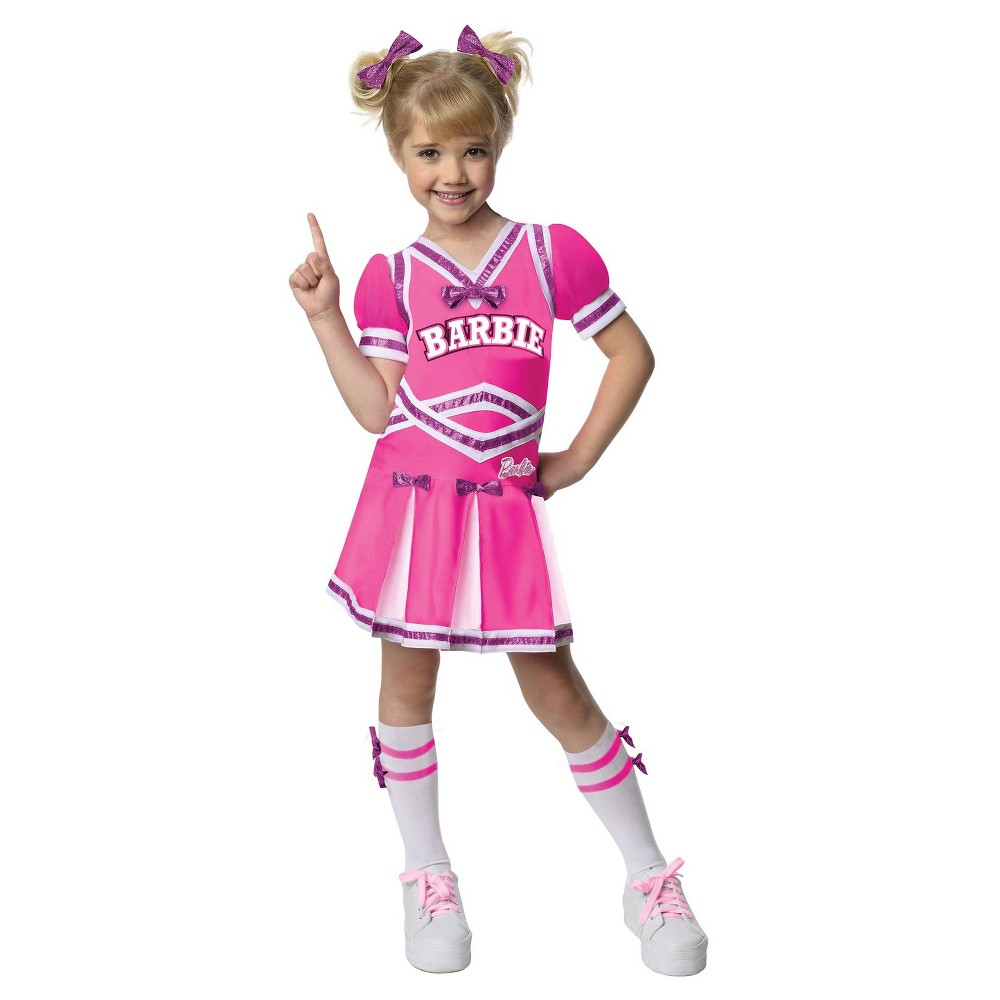 Girls Barbie - Cheerleader Costume - S, Size: S(4-6), Multi-Colored