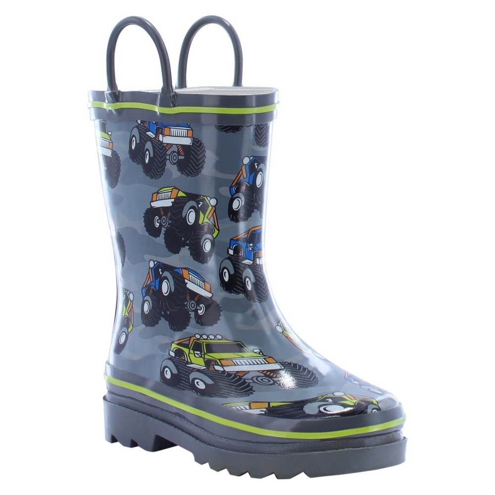 Western Chief Toddler Boys Monster Crusher Rain Boots - Charcoal 4, Gray