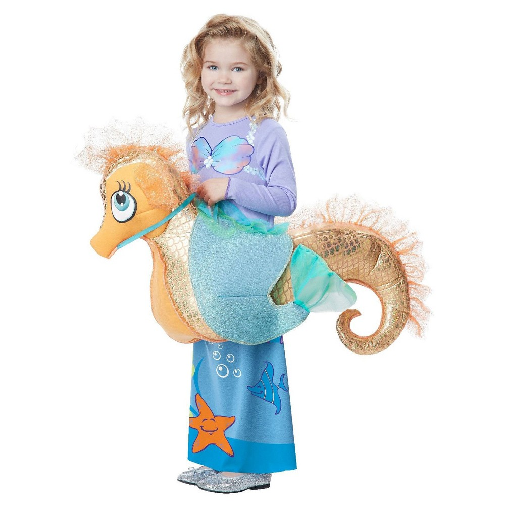 Girls Kids Mermaid Riding a Seahorse Rider Costume - One Size Fits Most, Silver