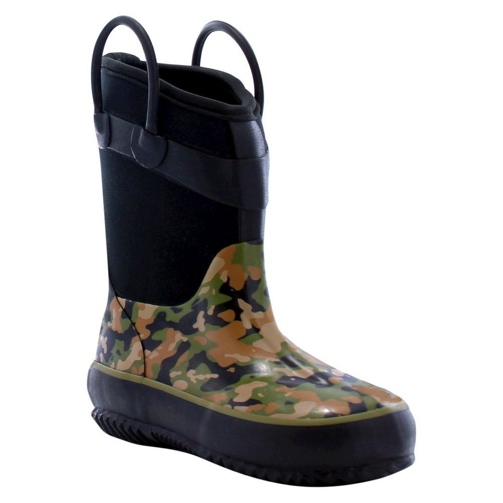Western Chief Toddler Boys Wilderness Camo Neoprene Rain Boots - Green 13
