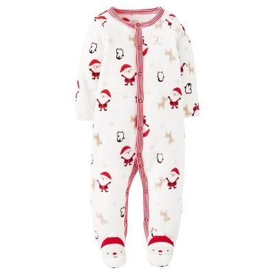 Just One You™ Made by Carter's® Baby Fleece Sleep N' Play Santas - NB