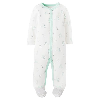 Just One You™ Made by Carter's® Baby Cotton Sleep N' Play Green Giraffes - NB
