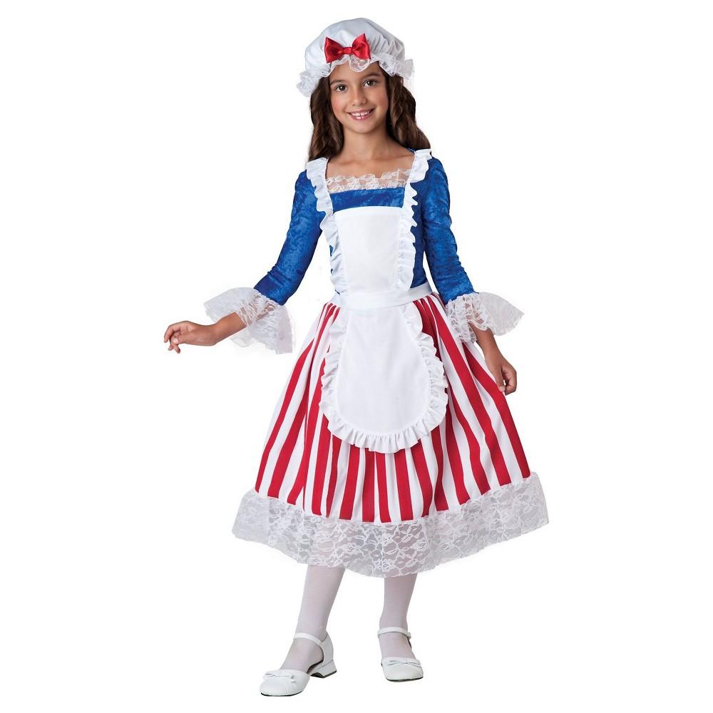 Girls Betsy Ross Child Costume M(8-10), Red