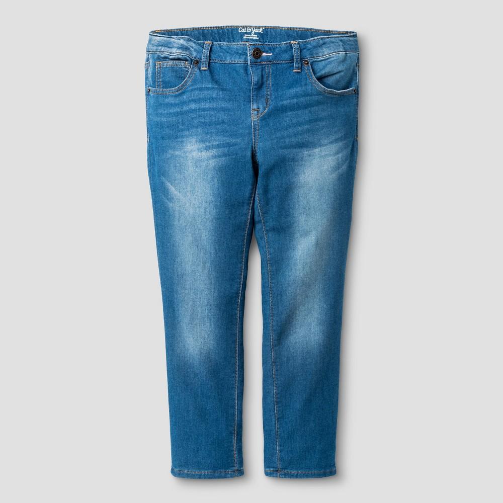 Girls Super Skinny Denim Crop Medium Wash - Cat & Jack 14 Slim, Blue