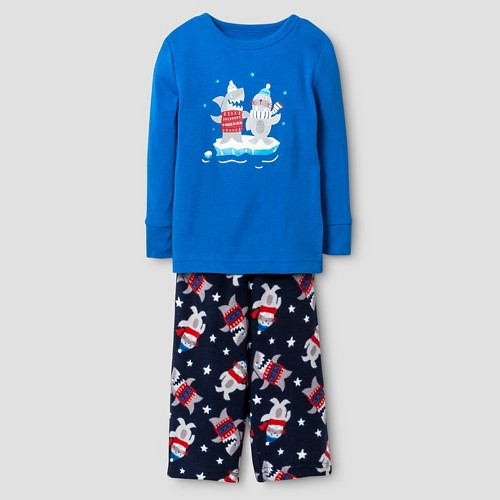 Baby Boys' 2-Piece Pajama Set Shark and Walrus - Cat & Jack - Blue 12 M, Infant Boy's, Size: 12M
