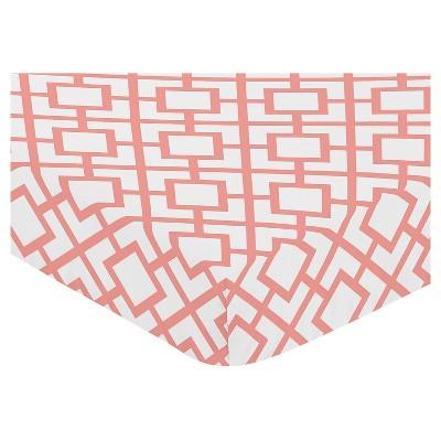 Sweet Jojo Designs Fitted Crib Sheet - White & Coral Mod Diamond - Diamond