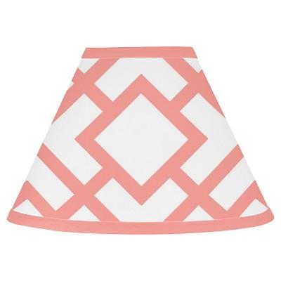 Sweet Jojo Designs Lamp Shade - White & Coral Mod Diamond