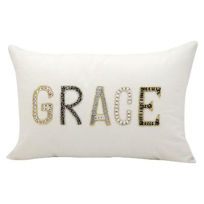 White Grace Throw Pillow (12 x18 )- Nourison