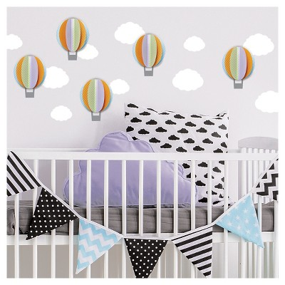 Paper Riot Hot Air Balloon Dimensional Wall Decals