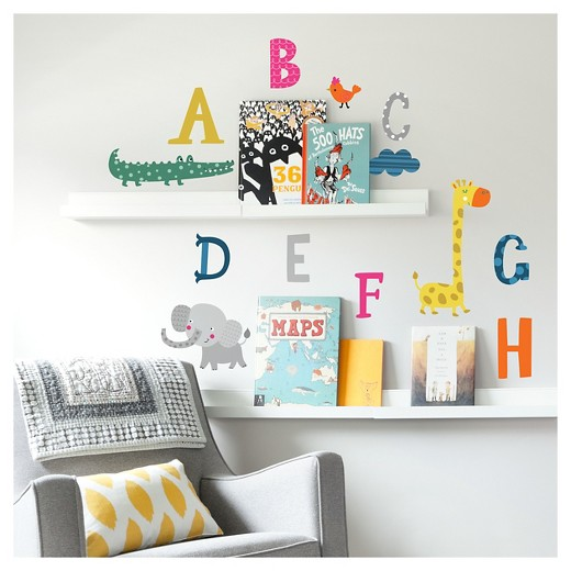 Paper Riot Alphabet Animals Large Playbook Wall Decals  Target - Wall decals animals
