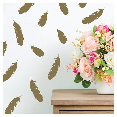 Paper Riot Gold Feathers Small Playbook Wall Decals Part 43
