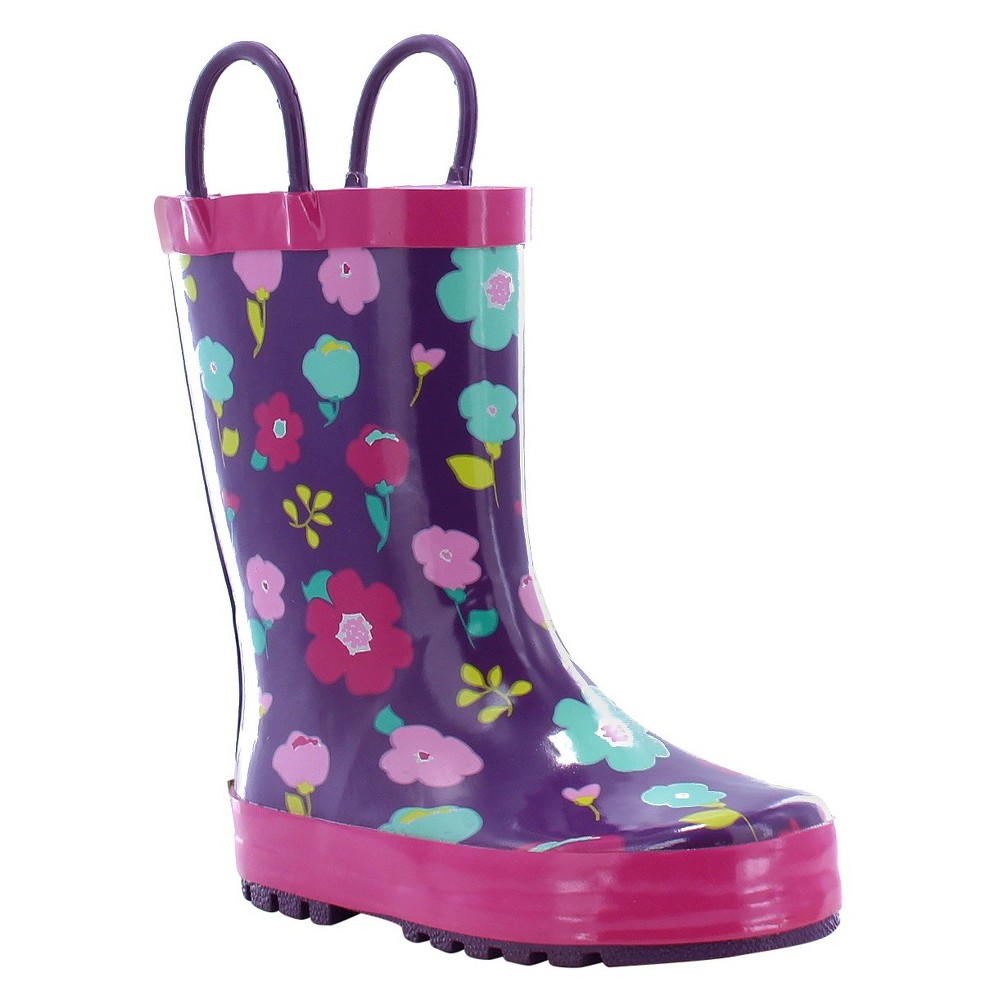 Western Chief Toddler Girls Lovely Floral Rain Boots - Purple 8