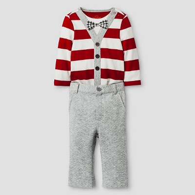 Baby Boys' Long-Sleeve Bowtie Bodysuit and Textured Knit Pant Baby Cat & Jack™ - Red Stripe/Grey NB
